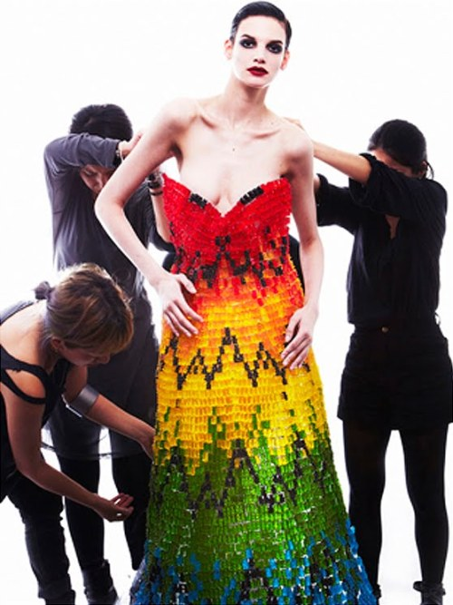 50,000 Gummy Bears were used to make this dress. Hissa Igarashi and Sayuri Marakumi made it to honor the late Lee Alexander McQueen.