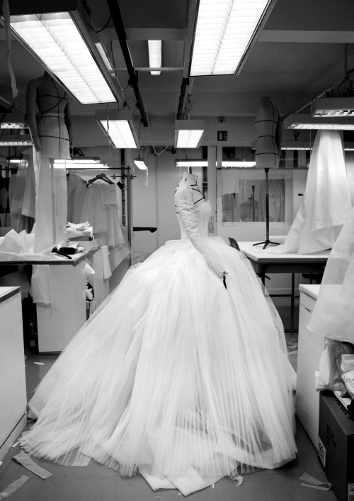 Inside the atelier for Christian Dior haute couture s/s 2012, photographed by Gerard Uferas