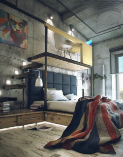 This might not be the coolest loft apartment in the world but it has to be top three… right? Source: http://www.home-designing.com/2012/07/casual-loft-style-living