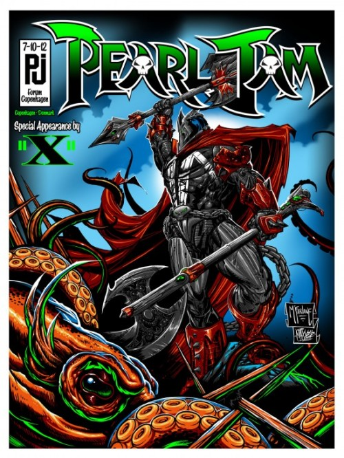superpunch2:  Pearl Jam poster by Todd McFarlane to be sold here and here tomorrow at 12.  Via.