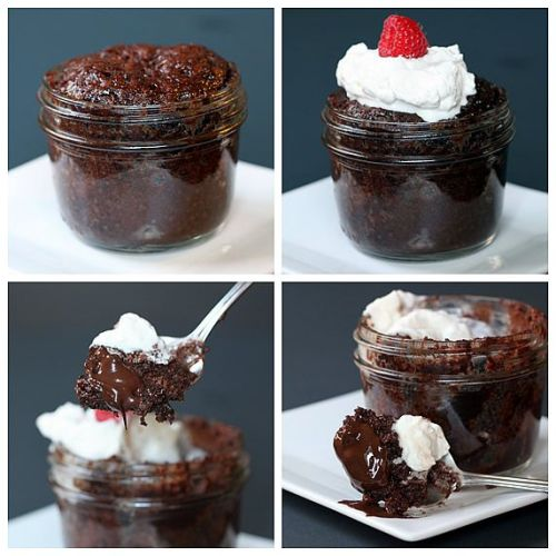truebluemeandyou:  DIY Microwave Mason Jar Brownie Lava Cake Recipe from The Yummy Life here. Really easy dessert using a brownie mix (she tried three brands and tells you which one she liked best) and Dove Dark Chocolate Promise candy pieces. *One image download.