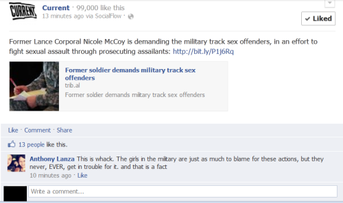 "stfuconservatives:  Today in rape culture: sexual assault in the military? Totally whack! RE: ""and that is a fact"":  (click through to comment on the post and let anthony know how you feel, ""whack"" or otherwise)"