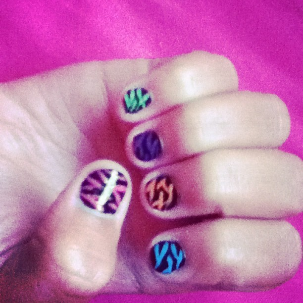 Cool nails! (zebra) done by amber! 😄.                           #nails (Taken with Instagram)