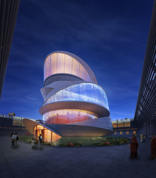 "evolomagazine:  Buddhism Temple Based on a Mobius Strip / Miliy Design The Buddhist temple soon to be built in Taichang, China, takes shape of a Mobius ring, reflecting the basic principles of Buddhism and the idea of reincarnation. With the aid of digital design and fabrication techniques, the spatial logic of the building is rooted in the idea of ""formlessness""."