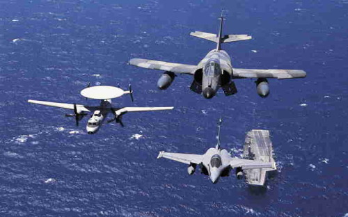 Three key aircraft of the French Aéronavale: a Dassault Super Etendard, Dassault Rafale and Grumman E-2C Hawkeye