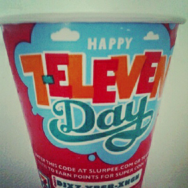Happy 7-Eleven Day! #slush #slushy #drink #color #711 #slurpee #grape #kiwi #strawberry  (Taken with Instagram)