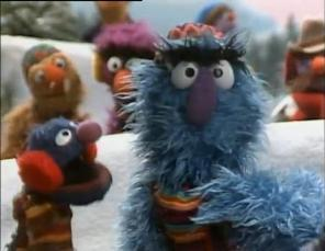 "Herry Monster and Grover in ""A Muppet Family Christmas"""
