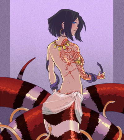 strixus:  rednumbernine:   day 4: naga lady  I really enjoyed this one. 'w'  Red and black, friend of Jack. Jack is a lucky fucker.