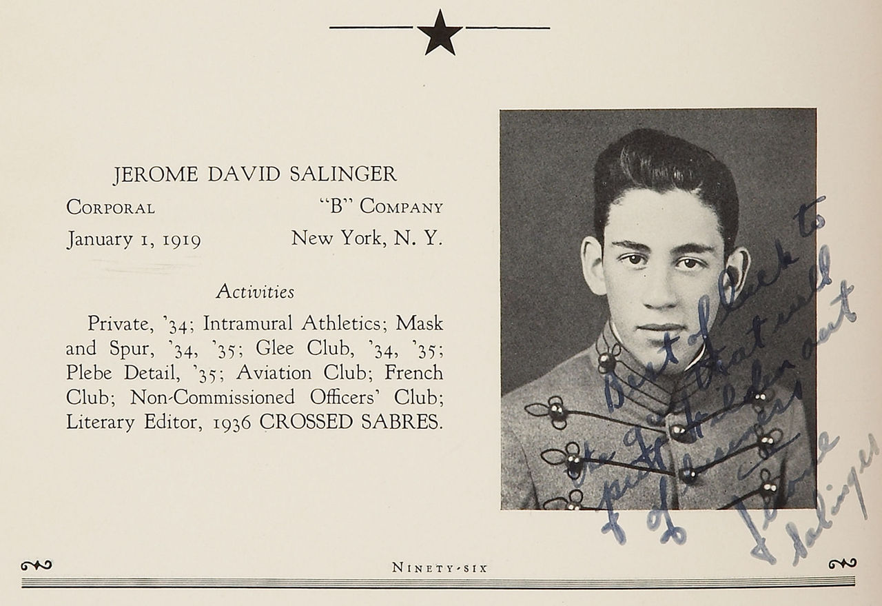 "ronulicny:  J.D. SALINGER'S ""Yearbook Photo"" w/ hand written message to pal….1936…."