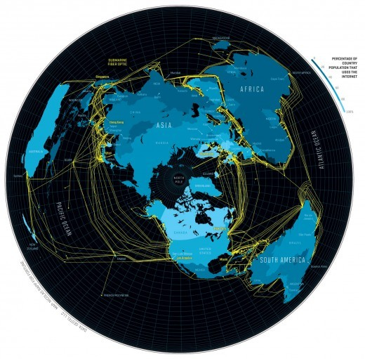 Map of the underwater Internet.
