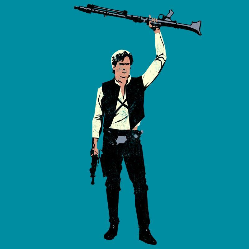 t-shirts,bruce campbell,han solo,parody,mashup,evil dead,star wars If you'd like to see this one print at ript, please click through and like and comment on their page, thank you! :D