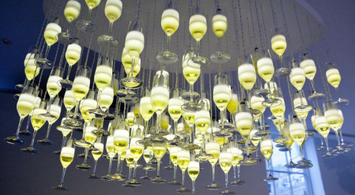 Champagne Glass Chandelier by We Came in Peace (via thegardenpartynyc.com)