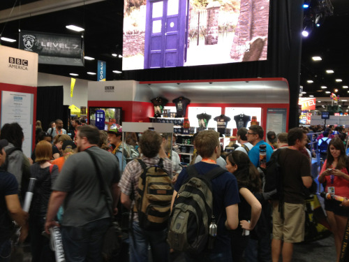 The crowd at the BBC America booth at Comic Con