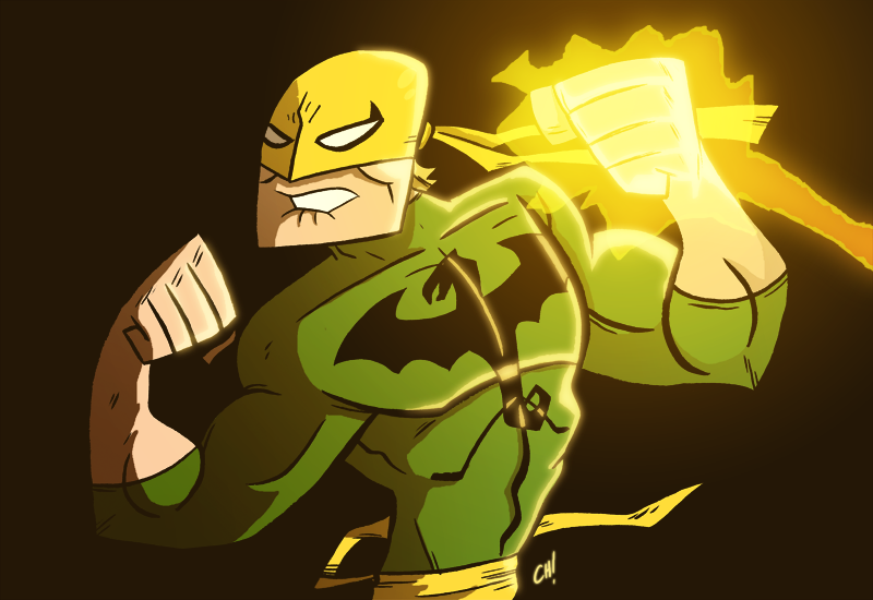 thechrishaleycoloringbook:  joebloodyhunter:  Chris Haley drew an Iron Fist. I colored him for funsies.  So rad!  Great job, Joe!