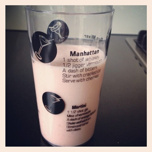 Banana berry smoothie in a cocktail shaker. Works. (Taken with Instagram)