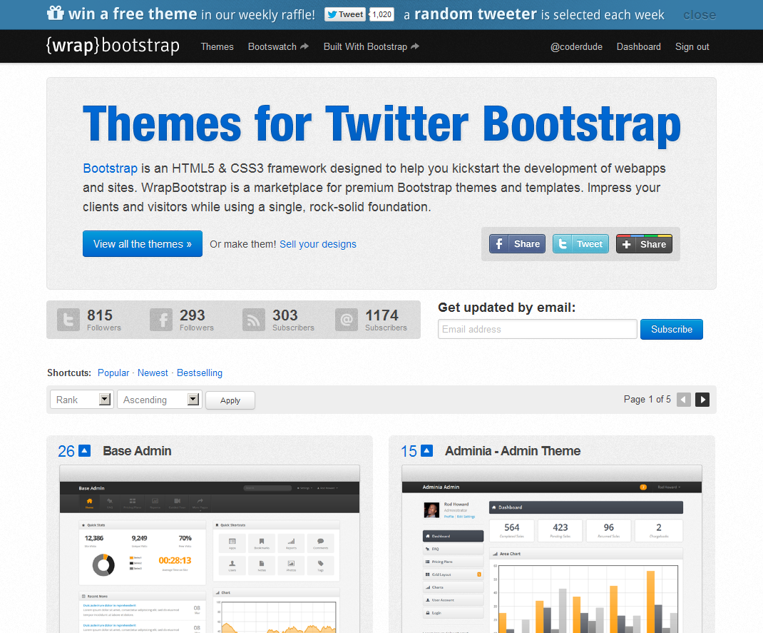 builtwithbootstrap:  WrapBootstrap WrapBootstrap is the biggest and best marketplace for premium Twitter Bootstrap themes and templates. Go buy a theme now!  This is so cool.