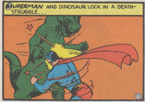 actioncomics:  Superman vs Dinosaur