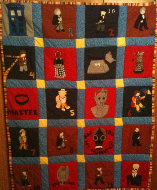(via Doctor Who Theme Patchwork Throw Quilt by ScientistNerd on Etsy)