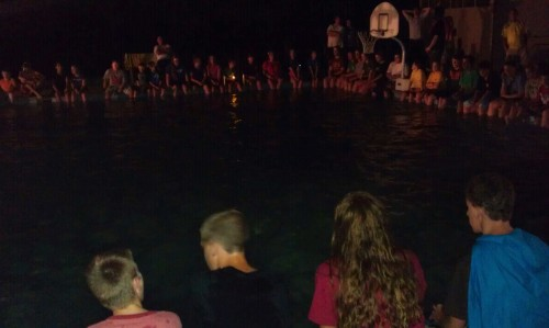 Late night singing at the pool.
