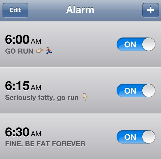 eatcleanmakechanges:  prettywildhealthy:  alarms for tomorrow. hopefully I'll actually drag my lazy self out of bed and go!  This is awesome! :)