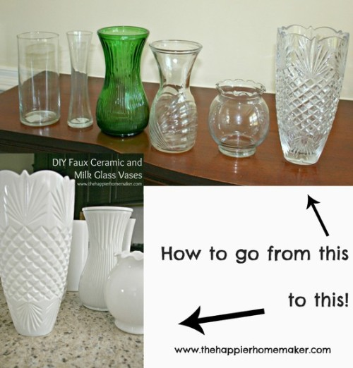 Take old glass vases and spray paint them with a gloss based spray paint, or poor paint on the inside until every spot is covered.