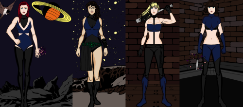(In order from left to right) Tracey, Lisa, Kristen and Jamie as X Men. Tracey - A telepath with the ability to heal Lisa - Has the ability to control nature (specifically plants) Kristen - Has the ability to control fire (?) and often uses her bat in combat Jamie - Has telekinetic abilities with which she often controls knives