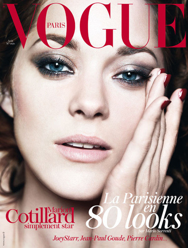 "Marion Cotillard for Vogue Paris August 2012 shot by Mario Sorrenti. ""Paris is the fashion capital of the world. Never has the evidence been stronger: ahead of a high-octane Fall/Winter 2012-2013 season, two new style kings have arrived at two of the biggest Paris empires of elegance with Hedi Slimane at Yves Saint Laurent and Raf Simons at Christian Dior, cementing the position of the City of Lights at the very top of design. We celebrate the reality of the Parisian dream, in this issue,"" writes Vogue Paris Editor-in-Chief Emmanuelle Alt see more HERE."