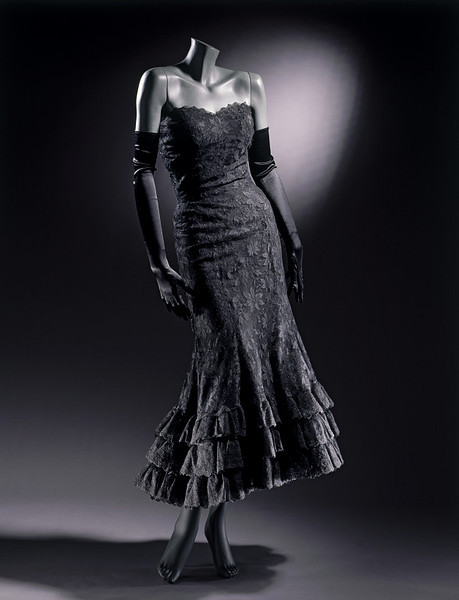 "Chanel | c. 1958 A dress designed after Chanel's ""comeback"" collection of 1954."