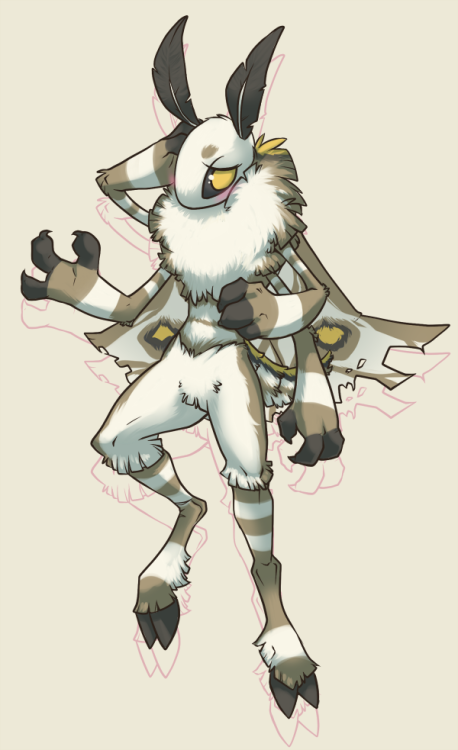 Finally decided on a color scheme for this guy! He's a moth… monsterthing. I was stumped for a while but I ended up basing his color palette on this moth. I'm still deciding on a name for him however. I draw a lot of boring floaty poses whoops. I just really like moths okay. uwu