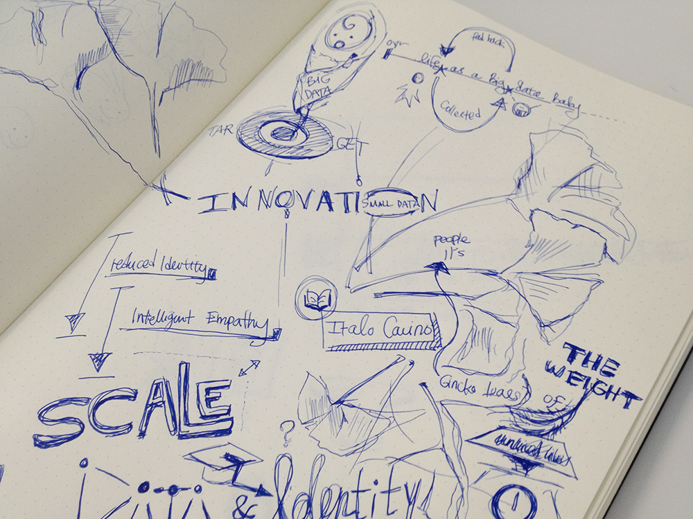 The pages from my sketchbook featuring @datatelling's talk: The Weight of Unlived Lives. ginkgo leaves are so fun to draw. ~ I'm so bad at keeping up with this blog. My goal should be to get some more stamina… I barely have any energy after commuting home.