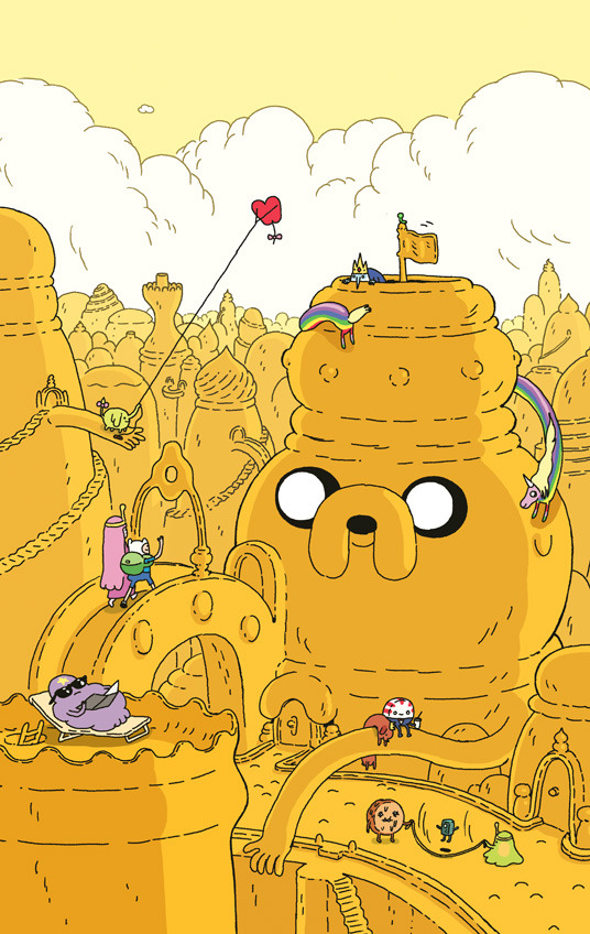 mangomunch:    Jake City! Hey hey, I hear that issue 6 of the Adventure Time comic is out now! This is the varient cover I did for it.  Also: Los Angeles is really cool.   This could actually be creepy if everything in the city was made from him because he can move his eyes to any part of his body. Taking a shower? Jake can see you. Sleeping at night? Jake can see you. Having sex? Jake can see you. Big Brother Is Watching You.