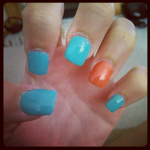 #nails #fake #summer #beautiful #hand #Mint #coral