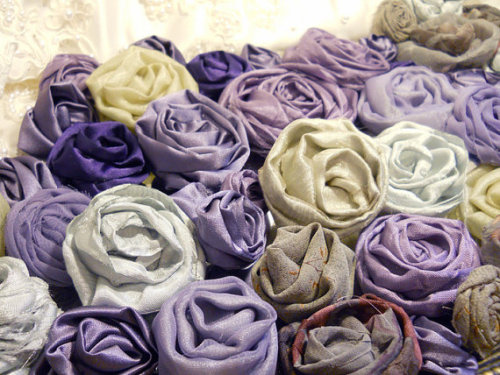 Bulk Flowers, Lot of 60 Beautiful Flowers handmade of Vintage Fabric and Organza. Purple, eggplant, lavender, greens