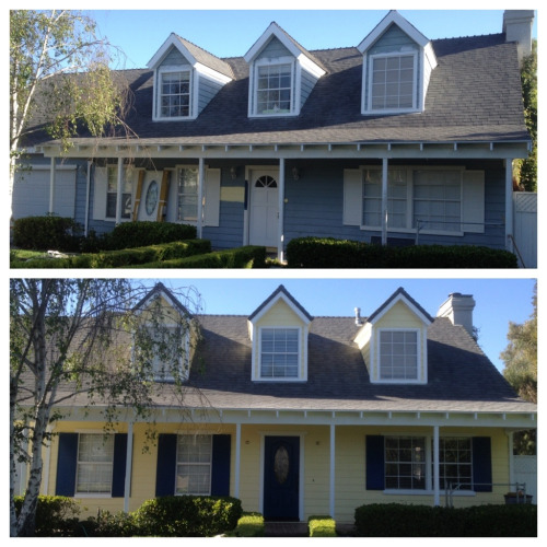 A before and after snapshot of a house that received an exterior makeover from Integrity Construction.