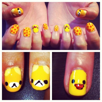 rilakkuma nails for @herrohachi :) #deeznails #nails #nailart #nailswag #nailporn #nailpolish #vancouver  (Taken with Instagram)