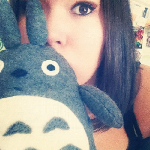 An oldish picture of myself and the hand sewn Totoro I created. We's ca-yoote. (Taken with Instagram)