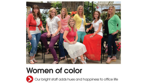 "adailyriot:  (via Utah Magazine Celebrates Its (White) 'Women of Color') Utah Magazine Celebrates Its (White) 'Women of Color'   John Cook    If you were the editor of Utah Valley Magazine, and you needed a headline to accompany your editor's note for the ""Women's Issue,"" and you had selected this photograph of your female staffers to illustrate it, what would you pick for a headline? How about the one thing the photo most certainly does not depict? ""Women of Color"" is what editor Jeanette Bennett settled on for the July/August issue Utah Valley, which was pointed out to us by a tipster. Because look at all the colors! Red, yellow, green—is that melon? Oh and white. ""That was not intended as an ethnic comment,"" Bennett told me when I called to ask her if she was familiar with the traditional understanding of the adjectival phrase in question. ""It was just clever wordplay. It was that women add color, and there's more than one meaning of color."" So does her magazine employ any actual women, or even people, of color? ""We don't. I definitely don't think we're ethnically diverse. But we did have an article in this issue about the first African American Miss Utah Teen USA."" So there's that."