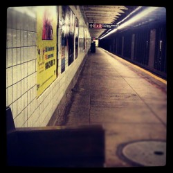 Late Nights, Early Mornings #Subway #LateNight #EarlyMorning #Android #MTA #ClintonHill #Brooklyn #Underground #NewYorkCity #AmateurPhotography #Androidography #FultonStreet  (Taken with Instagram at MTA Subway - Clinton/Washington Aves (A/C))