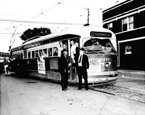 Chicago's last electric streetcar.  Chicago Illinois. June 21st, 1958.  Photo courtessy of the Chicago Tribune Newspaper. www.chicagotribune.com by Eddie from Chicago on Flickr.