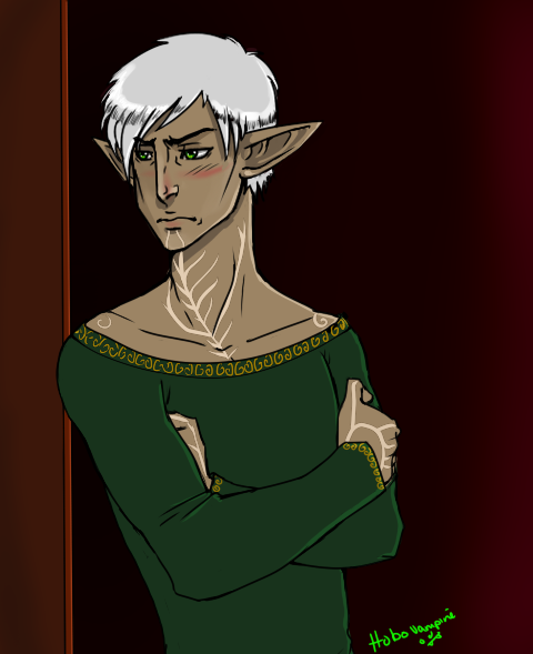 """That fool…and openly in front of me.."" A jealous, grumpy Fenris. A 5$ Commission for Autumnyte! Thank you so much! She helped me get some Fenris smelly stuff! <33 Thank you so much!"
