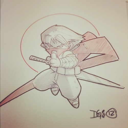 First #commission at #sdcc #capcom #strider #mvc #udon #comics #chibi #traditional #colerase #markers (Taken with Instagram)