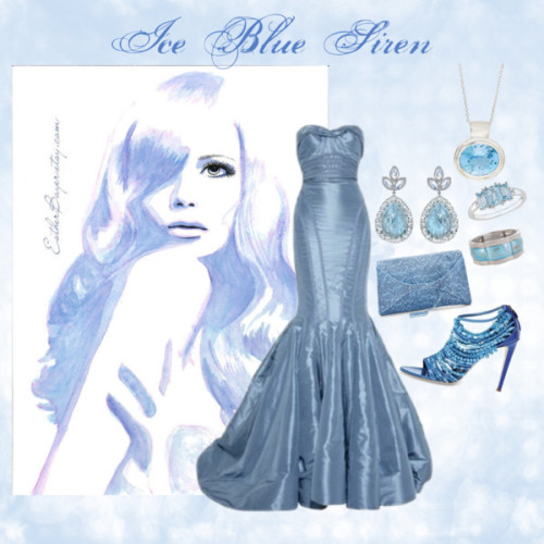 Ice Blue Siren by synergy-by-design featuring aquamarine jewelryMcQ by Alexander McQueen python handbag / Irene Neuwirth aquamarine jewelry / London Road white gold necklace, $435 / Ice  jewelry / MOTHER s jewelry / Original Watercolor & Ink Painting