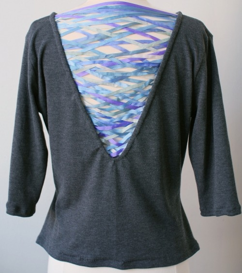 DIY Ribbon Woven Back Shirt Restyle Tutorial from How Did You Make This? here. *This reminds me of the criss cross cotton yarn tee shirt I posted here.