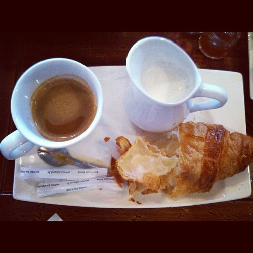 Petite Dejeuner #paris #croissant #cafe #lait #breakfast  (Taken with Instagram)