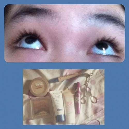 #products that I used. #maybelline#bb#cream#dream#matte#powder#flared#mascara#thebodyshop#bronzer#rimmle#london#face#primer#eye#concealer#highlighter#ivory#koji#eyelash#curler#dark#lashes#awesome#drugstore#makeup  (Taken with Instagram)