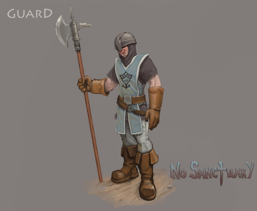 The City Guards are a heavy NPC guards who patrols the streets of human settlements and attack any hostile creature they spot. In a fight City Guards area formidable melee fighters, being both strong and durable while wielding halberds that grant them great power and range of attack. Their combat tactics are simple, they simply attack their opponent until either they or their opponent drops to the floor.