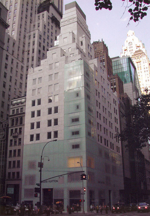 "Louis Vuitton New York by Jun Aoki ""From their shape these stores are not so special as they are only a 'box'. I just added layers [and] depth."""