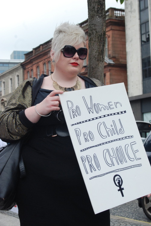 haute-proportions:  Well if it isn't me at the Pro Choice rally in Belfast. Tearing down the system in sequins.