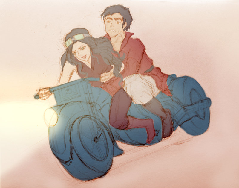 irosamifeels:  Joyride: Iroh and Asami [WIP] by ~svetea  Headcanon: Iroh clings like a cat even when they've stopped moving.