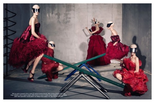 Alexander McQueen fall 2012 by Steven Meisel on Vogue Italia July 2012.